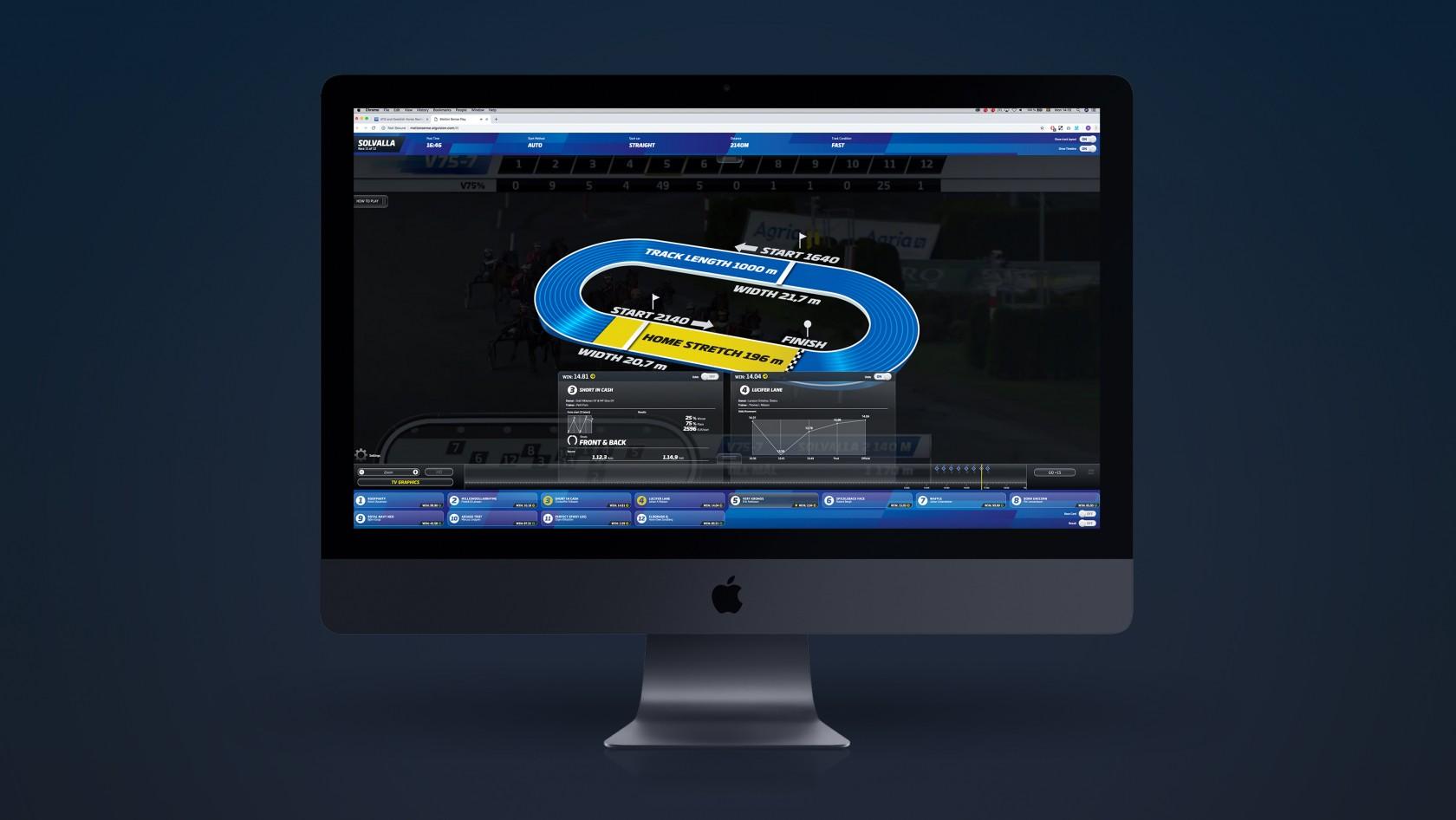 Exempelbild från ATG International tjänst Motion Sense för livesända travlopp