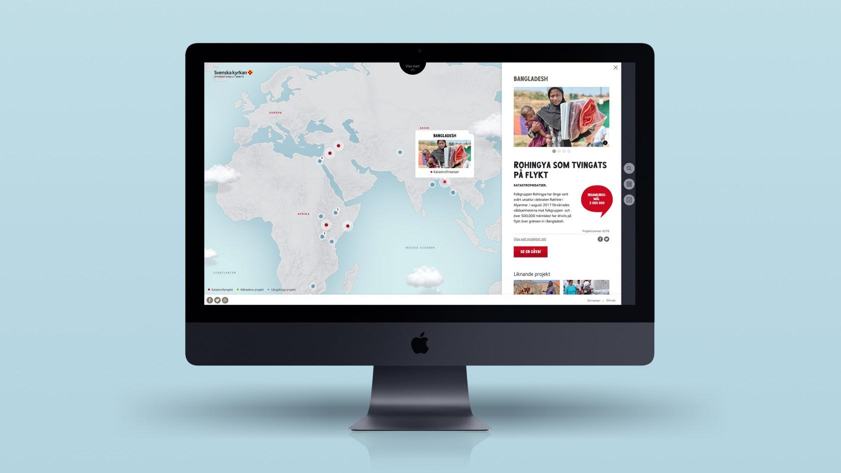 Design och webbutveckling av Svenska kyrkans Projektkartan för internationellt arbete