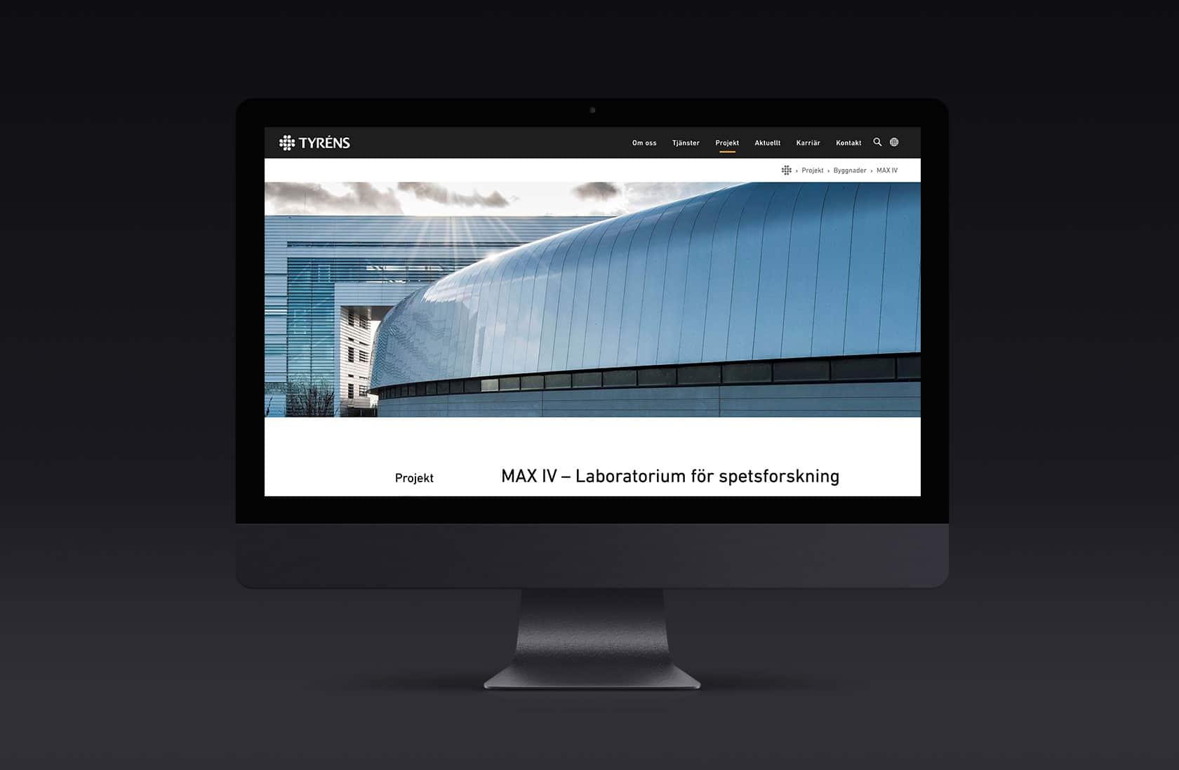 Tyréns, ny webb i Umbraco. Designad och inplementerad av Phosworks 2