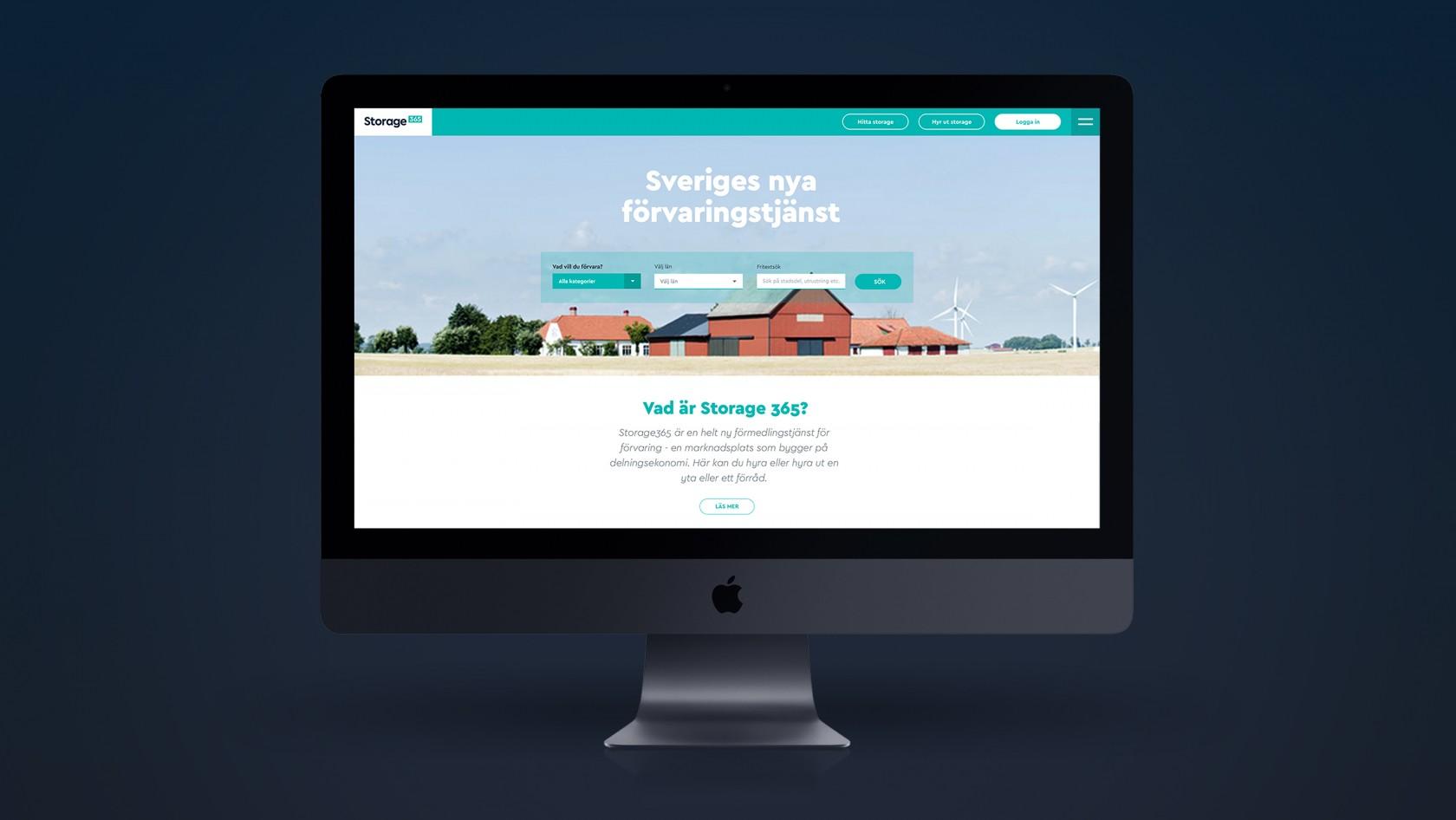Startsidan för webbtjänsten Storage 365 där Phosworks har byggt plattform, gjort varumärkesdesign och webbdesign.