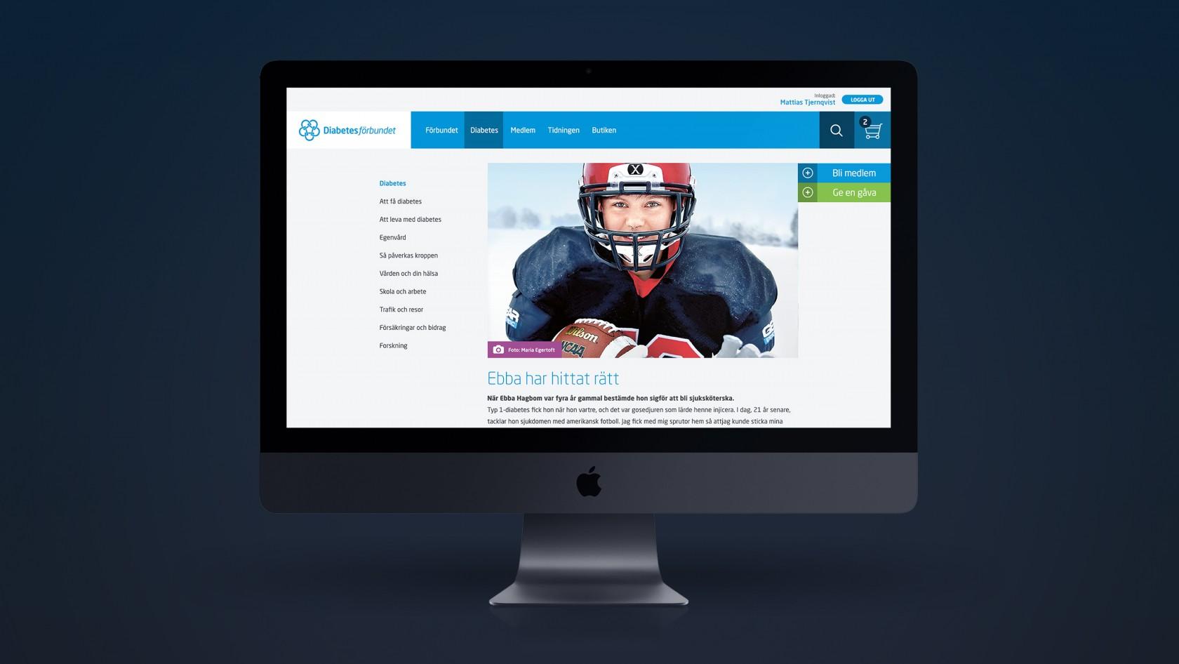 Exempelbild från Diabetesförbundets webbplats byggd i Episerver, design och implementation av Phosworks